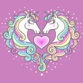 Two beautiful white unicorns and a pink heart. Vector