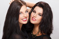 Two beautiful woman portrait women teeth smile dental Stock Images