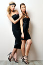Two beautiful women in a black dresses. Stock Photo