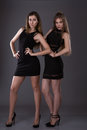 Two beautiful women in black night fashion dress posing on a gray background. Royalty Free Stock Photo
