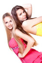 Two beautiful women in a colored dress Royalty Free Stock Photo