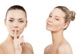 Two beautiful women finger lips showing to keep silence hush Royalty Free Stock Photography
