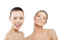 Two beautiful women finger lips showing to keep silence hush Royalty Free Stock Images