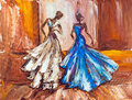 Two beautiful women. Oil painting. Royalty Free Stock Photo