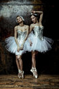 Two beautiful women wearing white tutu skirt Royalty Free Stock Photo