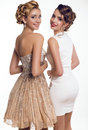 two beautiful young girls in elegant dresses Royalty Free Stock Photo