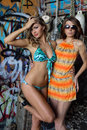 Two beautiful young swimsuit models posing sexy in front of graffiti background with marine style accessories Royalty Free Stock Photos
