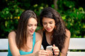 Two beautiful young woman browsing on smart phone in a park while sitting a white bench Royalty Free Stock Photography