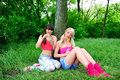 Two beautiful young women friends. Royalty Free Stock Photo