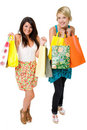 Two beautiful young women shopping. Royalty Free Stock Photo