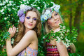 Two beautiful young women at spring Royalty Free Stock Photo