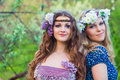 Two beautiful young women at spring Stock Images