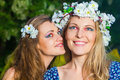 Two beautiful young women at spring Stock Photos