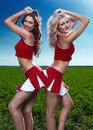 Two beauty cheerleader Royalty Free Stock Images