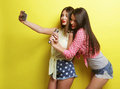 Two beauty hipster girls with a microphone  take selfi Royalty Free Stock Photo