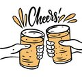 Two beer mugs, Cheers phrase. Hand drawn vector illustration Royalty Free Stock Photo