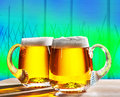 Two beers with hop field Royalty Free Stock Photo