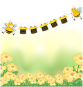 The two bees and the hanging clothes illustration of Stock Image