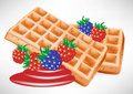 Two belgian waffles with berry Royalty Free Stock Photos