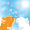 Two beloved cats on sky background vector illustration Royalty Free Stock Photography