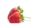 Two berries ripe strawberries with leaves isolated Royalty Free Stock Photo