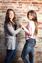 Two best friends pretty bff brunette teenage girls standing in front of a brick wall Royalty Free Stock Photo