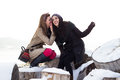 Two best friends talking winter Royalty Free Stock Photography