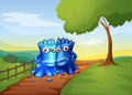 Two bestfriend monsters going to the farm illustration of Royalty Free Stock Photography