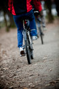 Two bicyclists going on a wood track Stock Photo