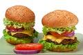 Two big cheeseburgers Royalty Free Stock Photo