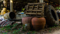 Two big vase in backyard thailand Stock Image