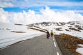 Two bikers in high mountains norway traveling snow Stock Photography