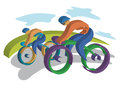 Two bikers traveling on the road colorful vector illustrations Royalty Free Stock Photo