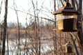 Two bird feeders closeup of in a marsh Stock Photography