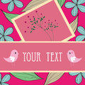 Two birds and flower card pattern design Stock Image