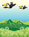 Two birds flying along the mountains illustration of Stock Photo