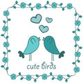Two birds in love cute Stock Image