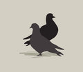 Two birds in love dove silhouette peace symbol doves Stock Photography