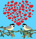 Two birds love with hearts Royalty Free Stock Images