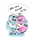 Two birds in love we are meant to be person say each other there are tender feelings towards the person you hugging looking into Stock Photo