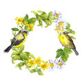 Two birds, wild herbs, meadow flowers. Floral wreath. Watercolor ring