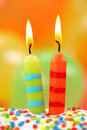 Two birthday candles Royalty Free Stock Image