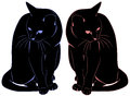 Two black cats a boy and a girl looking in different directions Stock Photography