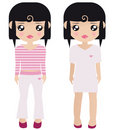Two Black Haired Female Paper Dolls Stock Images