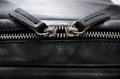 Two black leather zipper closeup Royalty Free Stock Photo