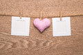 Two blank instant photos with hearts Royalty Free Stock Photo