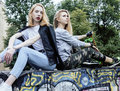 Two blonde real teenage girl hanging out at summer together best friends, lifestyle people concept Royalty Free Stock Photo