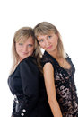 Two blondes portrait of on a white background Stock Photo