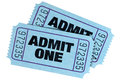 Two blue admit one movie tickets Royalty Free Stock Photo