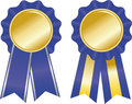 Two  blue award ribbons Stock Photo
